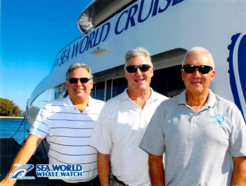 Ian Turner, Peter Gadsden & Daniel Martin - stepping on board for whale watch cruise